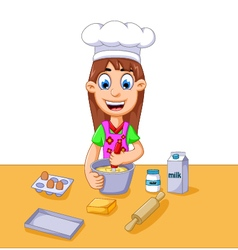 Funny cartoon girl making cake vector