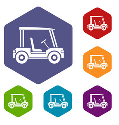 Golf club vehicle icons set hexagon vector