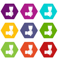 hand hjlding paint brush icon set color hexahedron vector image