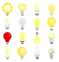 Light bulbs icons isometric 3d style vector image