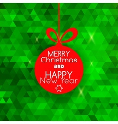 Merry Christmas ball card abstract green vector image vector image