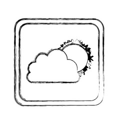 monochrome blurred square frame with cloud and sun vector image vector image