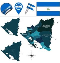 Nicaragua map with named divisions vector image vector image