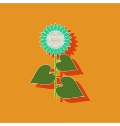 paper sticker on background of sunflower vector image