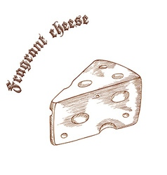 Pencil hand drawn of cheese piece with label vector