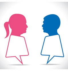 Pink women and blue men message bubble vector