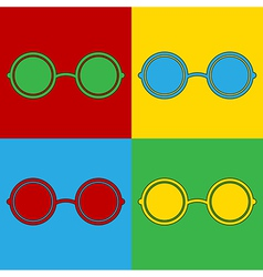 Pop art glasses icons vector image vector image
