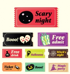 Retro halloween tickets vector