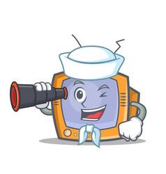 Sailor tv character cartoon object with binocular vector