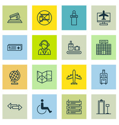 Set of 16 transportation icons includes credit vector