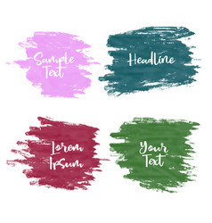 set of four greunge watercolor paint stroke vector image