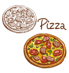 set of round italian pizza vector image vector image