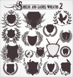 shields and laurel wreaths - set 2 vector image