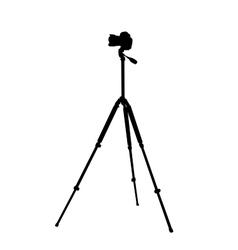 Silhouette of the camera on a tripod vector