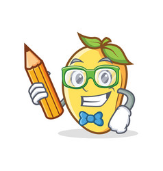 Student mango character cartoon mascot with pencil vector