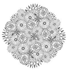 unique mandala with flowers ornamental round vector image