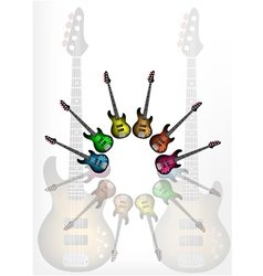 Various Color of Electric Guitars vector image vector image