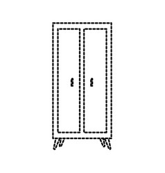 Wooden wardrobe furniture home decoration icon vector