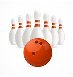 Group of white bowling pins and ball vector