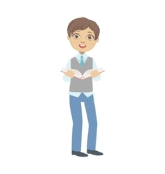 Boy in school uniform with the book vector