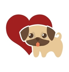 Dog cute tongue out red heart vector