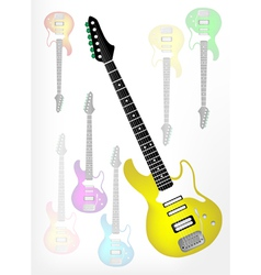 Yellow electric guitar with guitar shadow vector