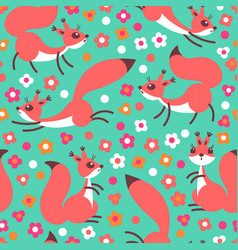 Little cute squirrels on flowers meadow seamless vector