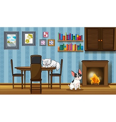 Pets inside a house near the fireplace vector image