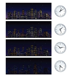 Night time skyline set of vector