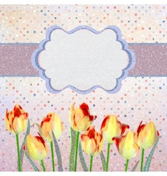 Vintage tulips card with polka dot eps 10 vector
