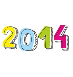 New year 2014 hand drawn doodle sign vector