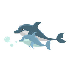 Big and small dolphins swim together isolated vector