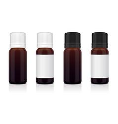 Set of realistic essential oil brown bottle mock vector