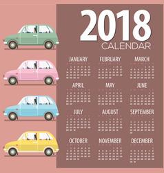 2018 vintage cars flat design printable calendar vector