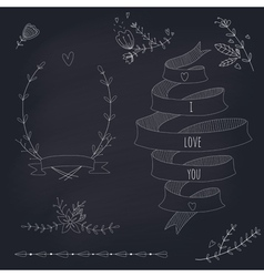 Hand drawn set of wedding design elements vector