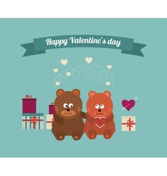 Lovers and happy bears with hearts vector