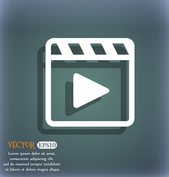 Play video icon symbol on the blue-green abstract vector