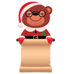 Teddy bear santa claus with a scroll christmas vector