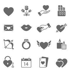 valentine solid icon set vector image