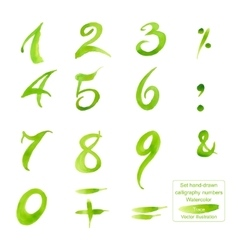 Set hand-drawn calligraphy numbers and symbols vector