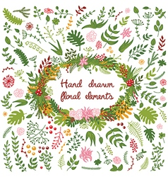 Set of hand drawn floral elements and wreath vector
