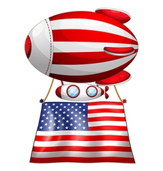 A floating balloon with the american flag vector