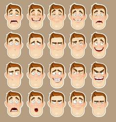 A young man emotions joy sadness hurt shock joy vector image