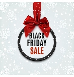 Black Friday round banner with red ribbon vector image vector image