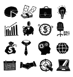 Business Icons Black And White Set vector image
