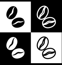 Coffee beans sign black and white icons vector