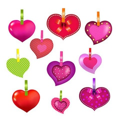 Color Hearts With Clothespegs vector image