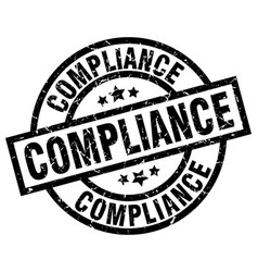 Compliance round grunge black stamp vector