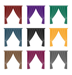 Curtains with drapery on the cornicecurtains vector