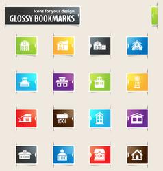 Farm building bookmark icons vector